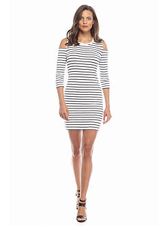 French Connection Striped Cold Shoulder Dress
