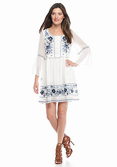 French Connection Sunshine Bloom Embroidered Smock Dress