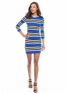 French Connection Multi Jag Stripe Knit Dress