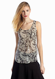 French Connection Paisley Party Sequin Tank