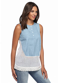 French Connection Holiday Lace Chambray Top