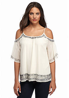 French Connection Island Maze Embellished Cold Shoulder Top