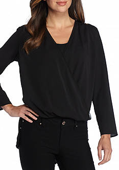 French Connection Polly Plains Pleated Back Wrap Blouse