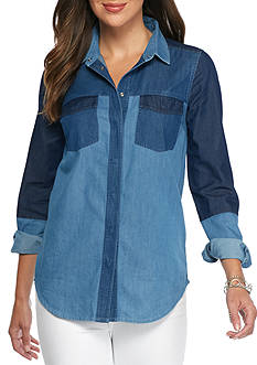 French Connection Koh Mix Denim Blouse