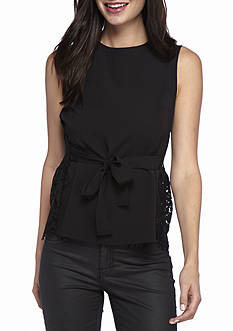 French Connection Midnight Plains Lace Back Top
