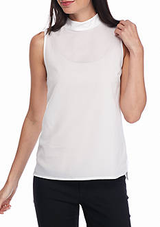 French Connection Polly Plains Mock Neck Tank