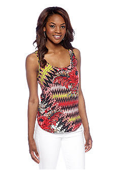 French Connection Zig Zag Floral Drape Vest Top