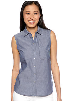 French Connection Fast Charlie Chambray Sleeveless Blouse