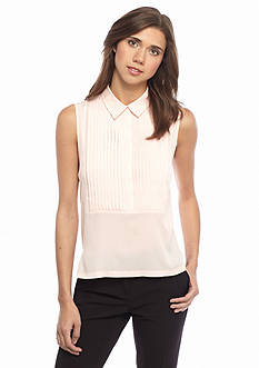French Connection Polly Pleated Collared Tank Top