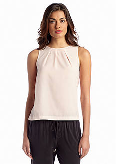 French Connection Polly Plains Sleeveless Woven and Knit Top