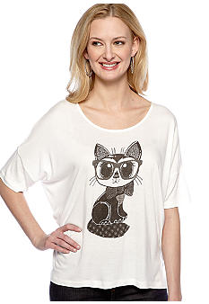 French Connection Fast Geeky Cat Knit Top