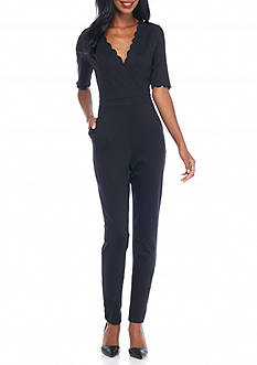 French Connection Beau Scallop Trim Knit Jumpsuit