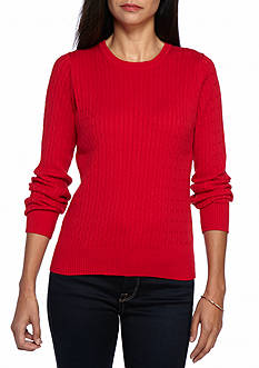 Kim Rogers Petite Cable Crew Solid Top
