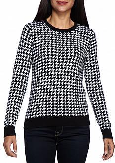 Kim Rogers Petite Houndstooth Jacquard Crew Neck Sweater