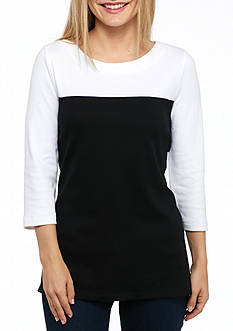 Kim Rogers Petite Three Quarter Sleeve Colorblock Top