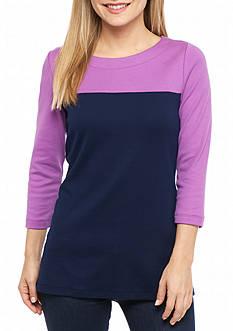 Kim Rogers Petite Three Quarter Sleeve Colorblock Top