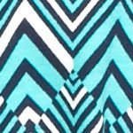 Essentials: Tops & Tees: Turqiose/Navy Kim Rogers Petite Square Neck Chevron Knit Top