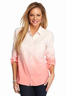 Kim Rogers Petite Linen Roll-Tab Shirt