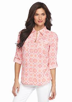 Kim Rogers Petite Printed Linen Shirt