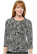 Kim Rogers&reg; Petite Color Block Zebra Grey Printed T-Shirt with 3/4 Sleeves<br>