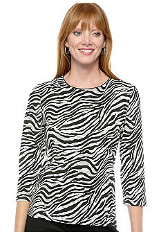 Kim Rogers&reg; Petite Zebra Shadow Printed T-Shirt with 3/4 Sleeves<br>