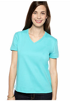 Kim Rogers Petite Interlock V-Neck Tee