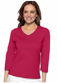Kim Rogers Petite Three Quarter Sleeve V-Neck Tee