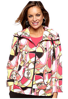 Kim Rogers Petite Printed Jacket with 3/4 Sleeves