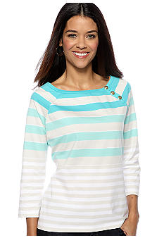 Kim Rogers® Petite Three Button Boat Neck Stripe Top