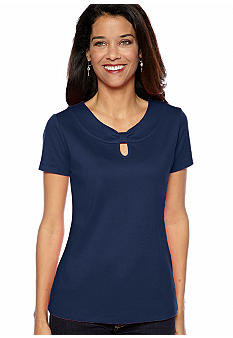 Kim Rogers Petite Short Sleeve Marilyn Neck Tee