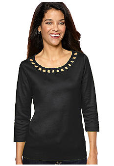 Kim Rogers Petite Three Quarter Length Sleeve Tee with Ringlet Neckline