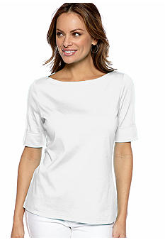Kim Rogers Petite Boat Neck Tee with Cuffed Elbow Sleeves
