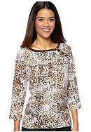 Kim Rogers® Petite Three Button Boat Neck Top