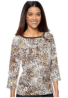 Kim Rogers Petite Three Button Boat Neck Top