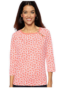 Kim Rogers Petite Three Button Boat Neck Circle Top