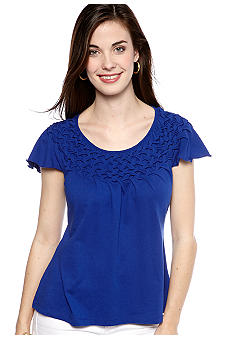 Kim Rogers Petite Flutter Sleeve Top with Smocked Neckline