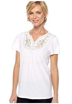 Kim Rogers Petite Short Sleeve Three Button Bib Tee