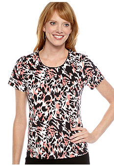 Kim Rogers Petite Scoop Neck Animal Print Tee