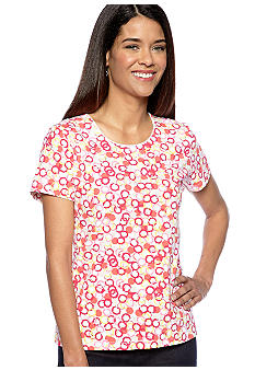 Kim Rogers Petite Short Sleeve Scoop Neck Tee in Ring Dot Print
