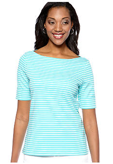 Kim Rogers Petite Stripe Boat Neck Top