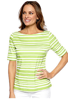 Kim Rogers Petite Stripe Elbow Sleeve Boat Neck Tee