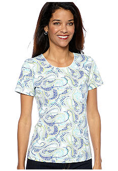 Kim Rogers Petite Jewel Neck Leopard Scroll Print Tee