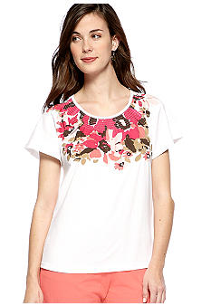 Kim Rogers Petite Short Sleeve Bloom Print Peasant Top