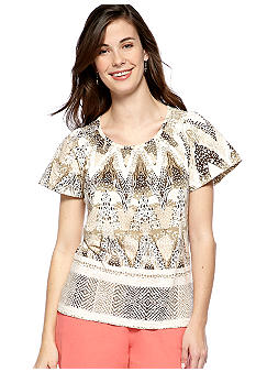 Kim Rogers Petite Short Sleeve Printed Peasant Top