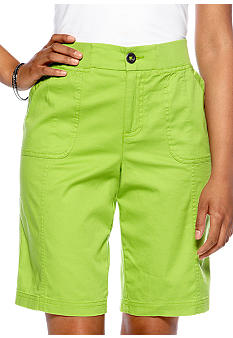 Kim Rogers Petite Basic Bermuda Short with Elastic Cinched Waistband