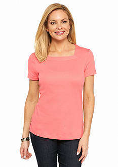 Kim Rogers Petite Short Sleeve Square Neck Tee