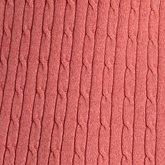 Petites: Kim Rogers Sweaters: Red Tonal Kim Rogers Petite Cable Knit Marled Sweater