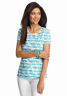 Kim Rogers Petite Striped Medallion Print Tee