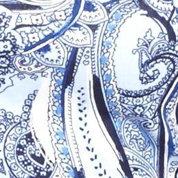 Petite Tops: Knit Tops: Blue Combo Kim Rogers Petite Three-Quarter Paisley Tunic