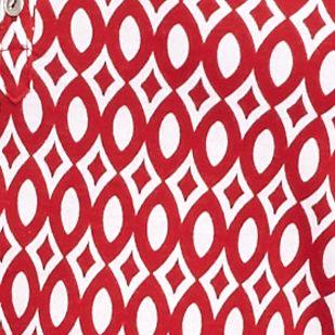 Petite Tops: Knit Tops: Red/White Kim Rogers Petite Net Geometric Print Henley Top